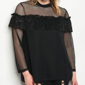 Tops - PLUS SIZE - BLACK BLOUSE with mesh/lace details